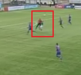 Niinepuu has already sweeped the ball with his head when Prosa crushes him - click to enlarge