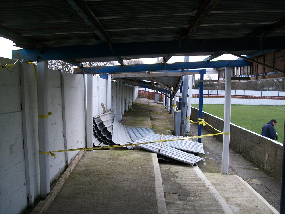 The Frank Hill Stand suffered damage during a bout of recent bad weather