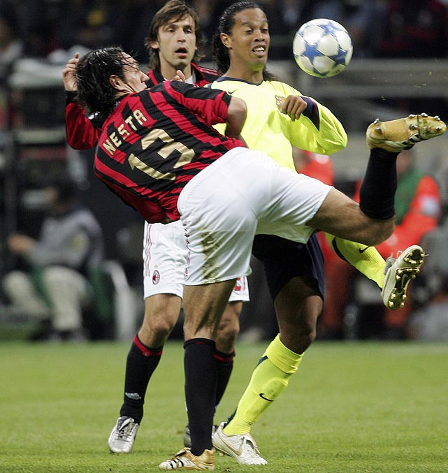 Sandro Nesta defying superstition and showing class in front of amazed Dinho and Pirlo (CNN.com)