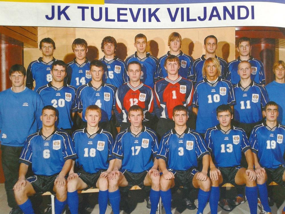 Viljandi Tulevik featuring Karl Palatu (Paide Linnameeskond) with nr17 and Mikk Haavistu, Kalju's first European goalscorer (nr.10)