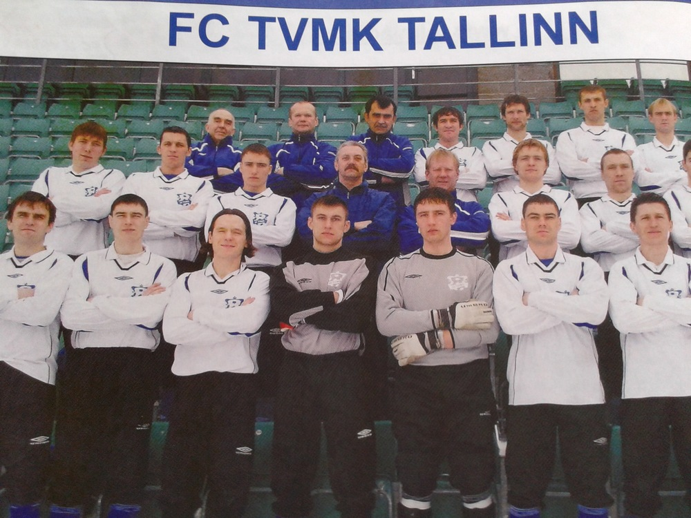 Kalju's and Levadia's topscorers of all times in Premium Liiga, Tarmo Neemelo and Ingemar Teever, were together at TVMK in 2005 (second row, first and second from left - outtake from 'Eesti Jalgpall 2005') - can you spot also Kalju's shot stopper Vitali Teleś?