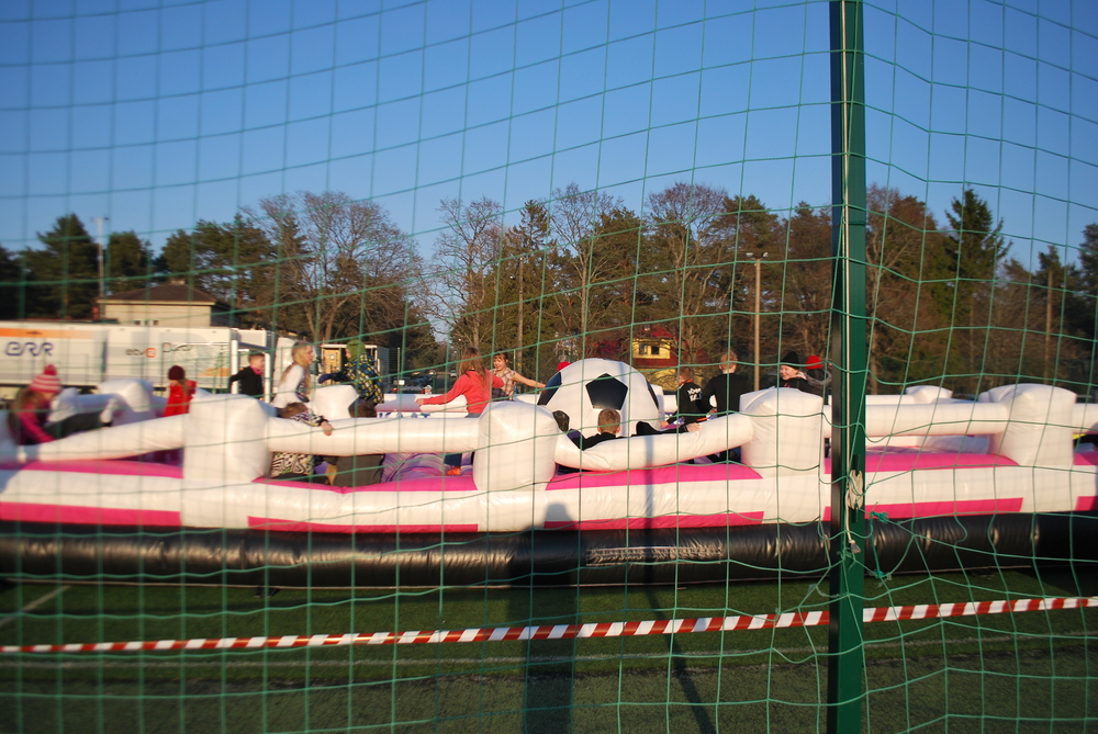 Kids area just behind one of the goals