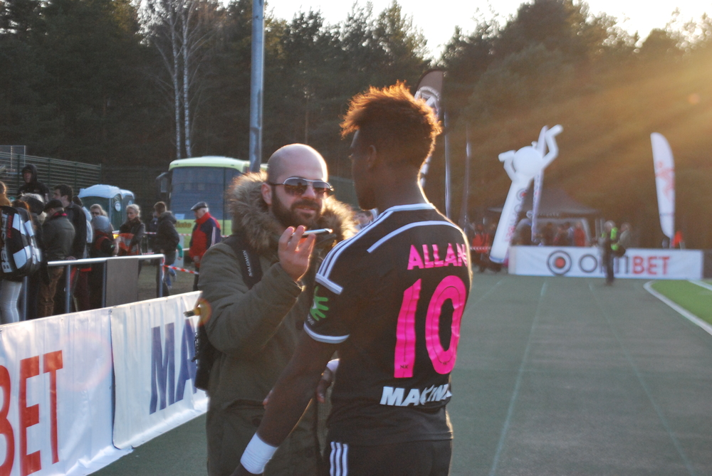 Our reporter, Deni Delev, chats with Allan Kimbaloula at the end of the match