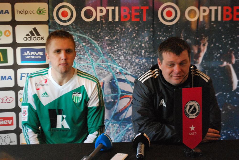 Levadia press conference with defender Artjom Artjunin and coach Marko Kristal