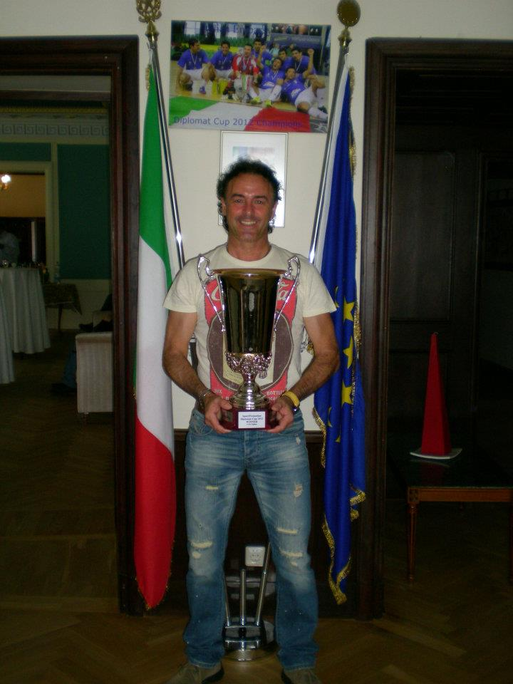 Italian Captain and team organizer Tony Pedivellano, proudly showing the trophy back in 2012 at the Italian embassy  (Facebook)