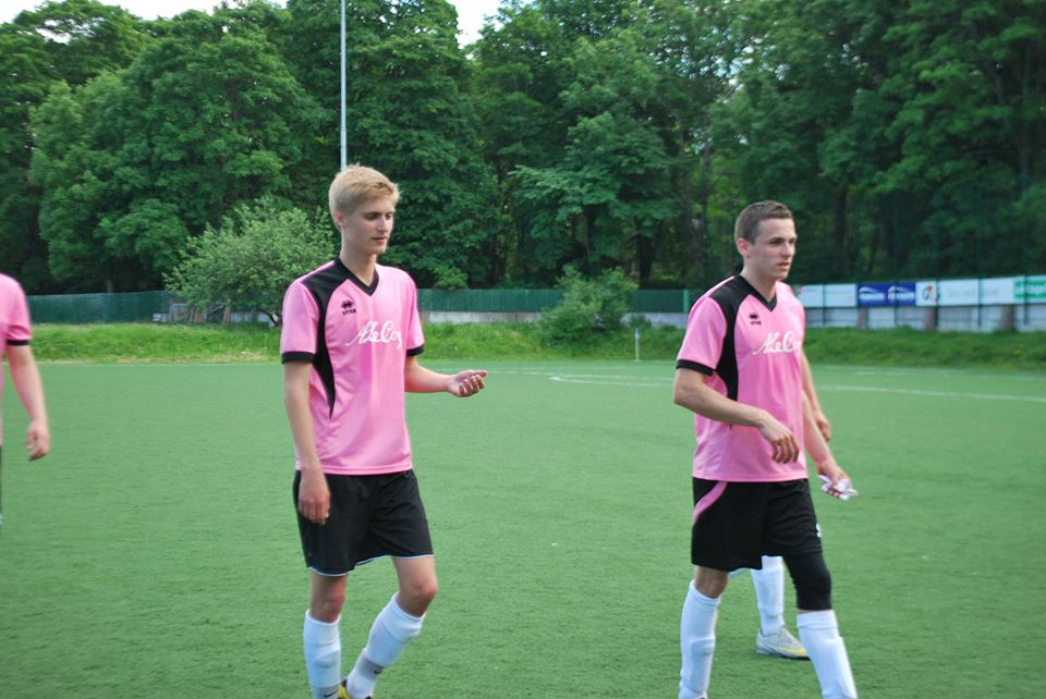 Lauri Hanstin (right) in Errea pink kit at FC Pokkeriprod (now FCF Tallinn Ülikool double team) - the Errea kit has been used a lot in pre-season and will continue to be the club's away kit
