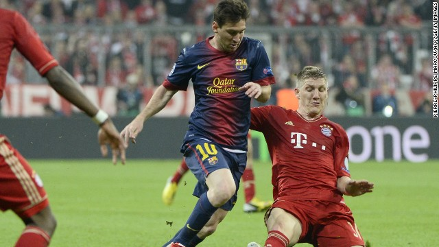 Schweini is almost as tall as Messi while slide-tackling...