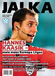 Kaasik on a front cover 'Jalka' - 'Our man in the Europa League