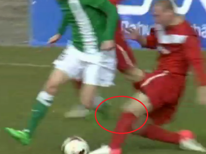Just a second before Andrejev's left leg reaches Jürgenson's one as the ball is already past the Narva's defender foot