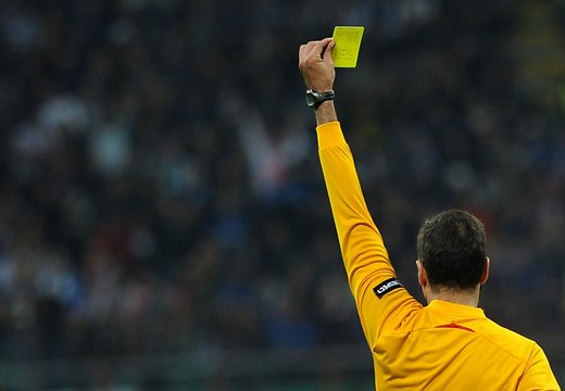 A yellow card has the same colour and meaning at any level (internet)