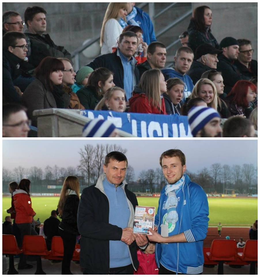 One of the 494 people crowding Tamme Stadium was former Estonian Prime Minister Andrus Ansip who received a season card from Kalle Paas hands, marketing manager at Tammeka - click to enlarge (Tammeka Facebook)