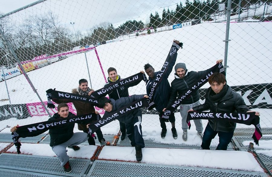 Damiano (second from right) and the other foreigners of Nõmme Kalju in a picture from last season (Delfi.ee)