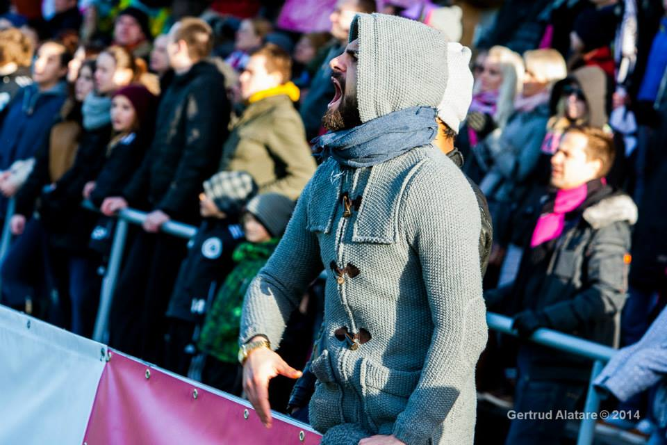 Damiano as an 'ultras' following a game from the stands (Gertrud Alatare)