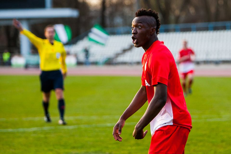 Irie's booking cost him being cautioned for next game (Getrud Alatare / Narva Trans Facebook)