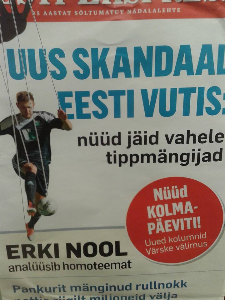 'New Scandal in Estonian Football' titled Eesti Ekspress this morning (RdS)
