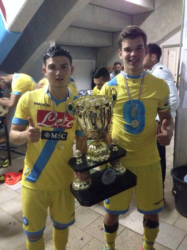 Frank (right) posing with the trophy of the 'Torneo Citta' di Ostuni' together with his teammate Andrea Mancini (Facebook)