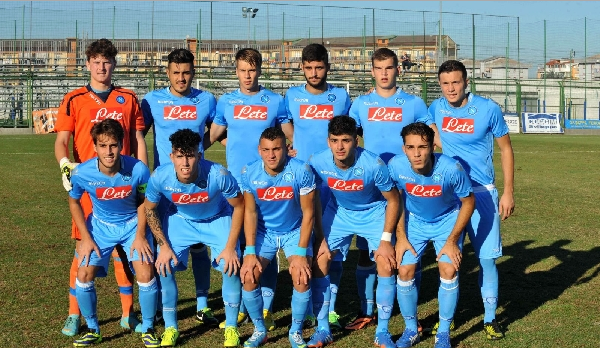 Frank in a starting XI of Napoli Primavera, top row, second from right
