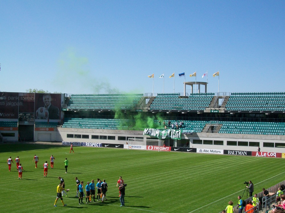 The Levadia fans were as passionate as ever, but the crowd gave Santos terrific support Photo: RdS