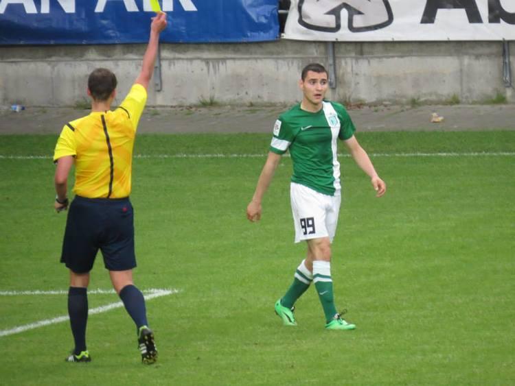 Albert Prosa falls foul of the referee