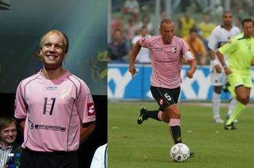 Kalju original full-pink strip as Italian club US Palermo