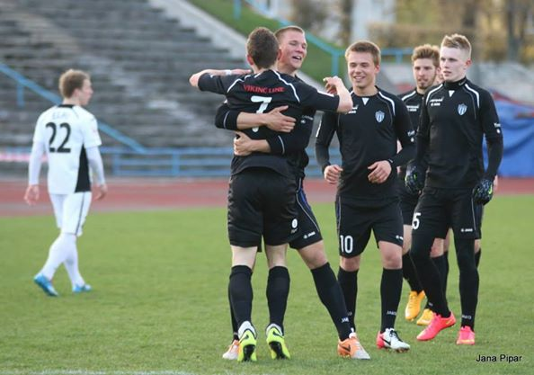 Omanidze celebrates his excellent brace of goals Photo www.jkkalev.ee