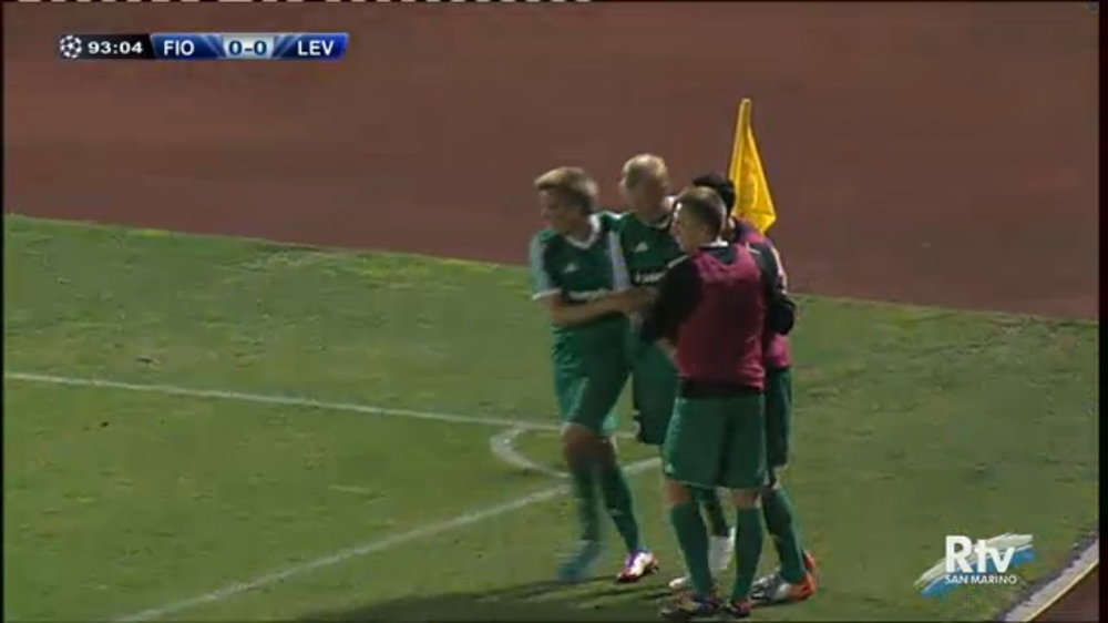 Heiko Tamm being celebrated in San Marino for the winner scored on injury time