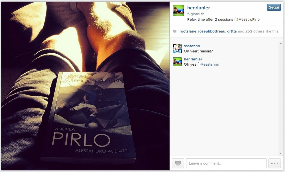 Estonian national team striker and former Motherwell FC, Henri Anier, relaxing with a copy of Pirlo's book in Germany as he plies trade for FC Erzgebirge Aue in Bundesliga.2 now - click to enlarge  (Instagram)