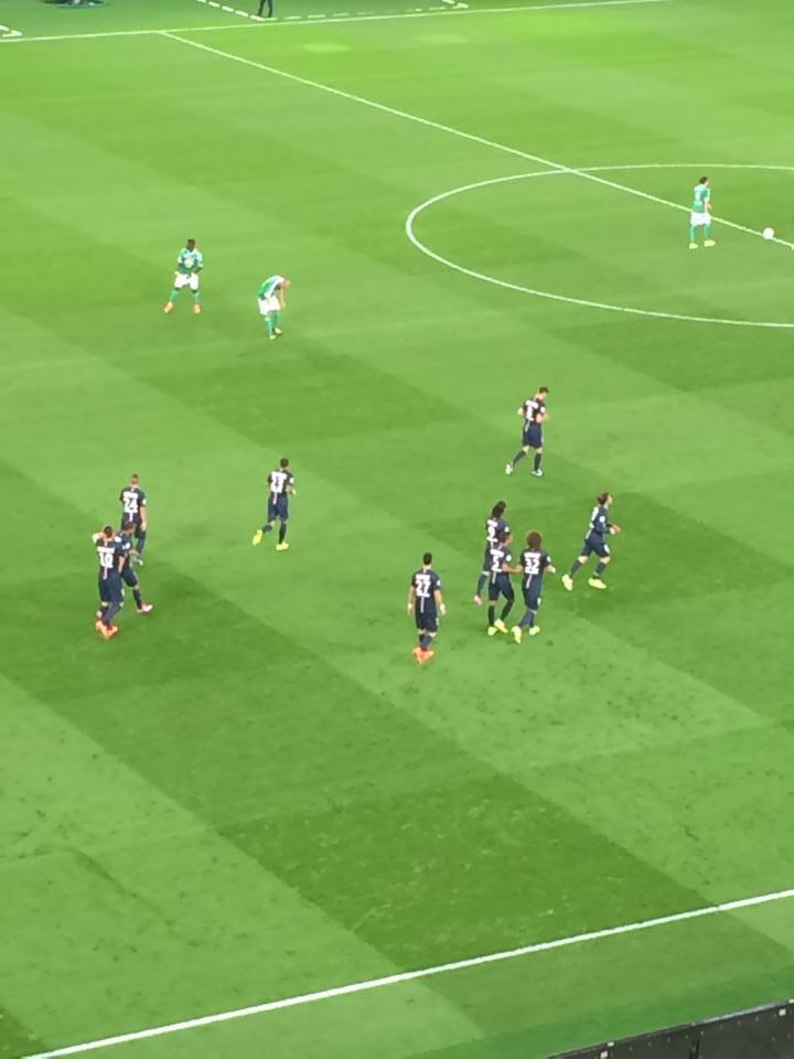 Zlatan celebrating a goal in Paris yesterday