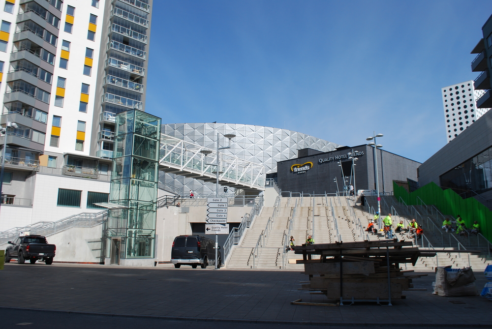 Friends Arena as it appears just around the corner of the AIK shop