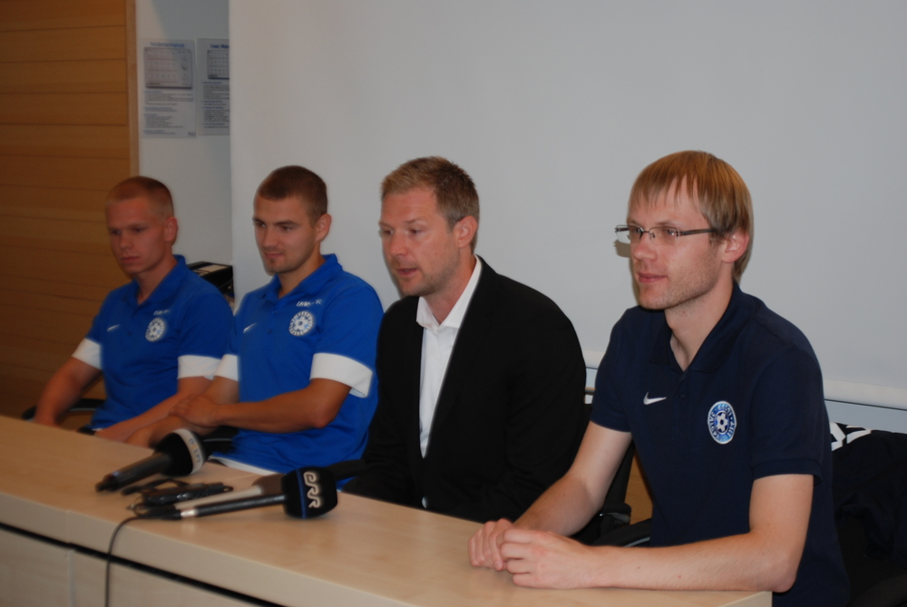 The press conference was attended also by midfielder Ilja Antonov (first from left) and left fullback Ken Kallaste (second) at the presence of Estonian FA press officer Mihkel Uiboleht (first from right). Antonov and Kallaste might be given a start instead of Vassiljev (injured) and Teniste.
