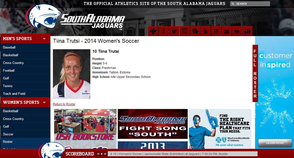 Tiina as she appears on South Alabama Jaguars website - click to enlrarge