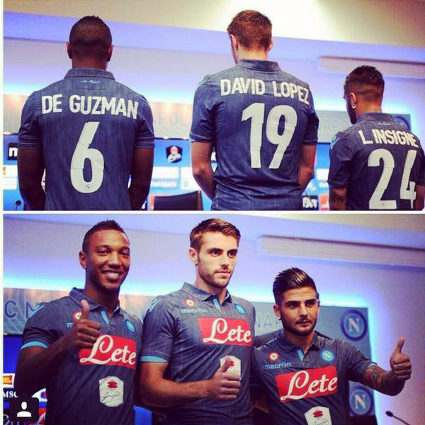 Two new signings with old-timer Lorenzo 'Il Magnifico' Insigne in the denim (!) away jersey