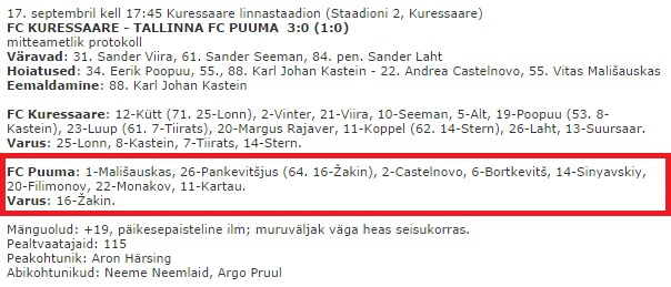 8 starts...and one substitution! Puuma hits the headlines again - click to enlarge