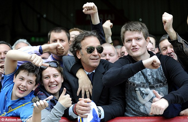 Cellino gets amongst the fans at Brentford image: dailymail.co.uk