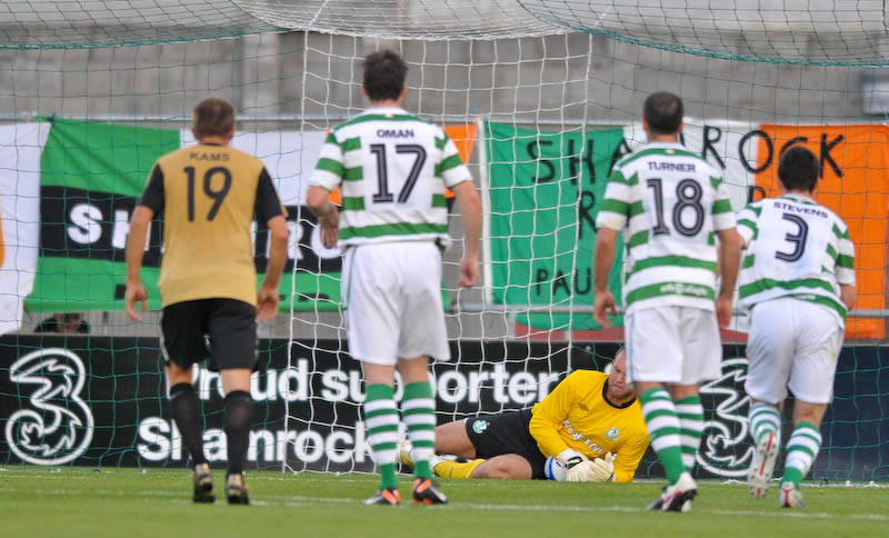 Shamrock Rovers playing FC Flora for the Champions League qualifiers in 2011. They will have to win the FAI Ford Cup (Irish national cup) to access Europe