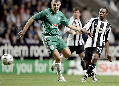 Levadia's finest moment in Europe, facing Premier League side Newcastle at St.James' Park in 2006-07 UEFA Cup (1-3 on aggregate)