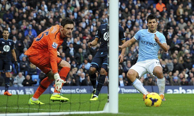 Aguero showed Tottenham no mercy, bagging himself four goals image: theguardian.co.uk