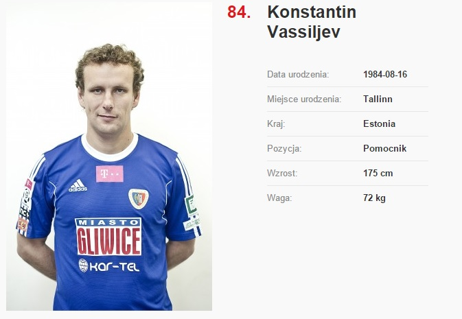 Vassiljev's card on Piast Gliwice's website (click to enlarge)