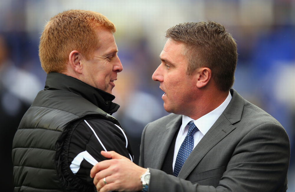 Bolton boss Neil Lennon greets outgoing Birmingham boss Lee Clarke prior to Bolton's 1-0 win, which was cause for Birmingham to show Clarke the door.
