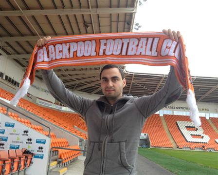 Sergei at Bloomfield road on the day of signing (BlackpoolFC.co.uk)