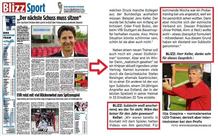 The original article on 'Blizz' in German as it appeared on Sunday the 16th of November. As you can see, the sentence regarding Aivar Pohlak appears at the end of a longer interview between the author Mario Hahn and Christian Keller (click to enlarge)