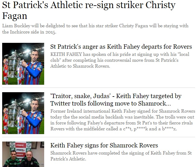 Front page of Football section of Independent.ie dedicated entirely to transfers