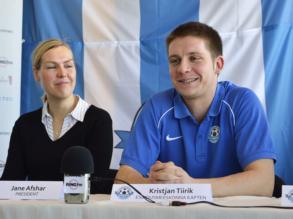 Jane Afshar with Tammeka's captain Kristian Tiirik. 'Tirka' was also a coach at the club during their tenure.