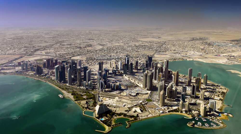 An aerial view of Doha, Qatar's capital