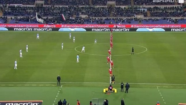 The all-forward set-up at kick-off in Lazio-Sampdoria on Monday (internet)