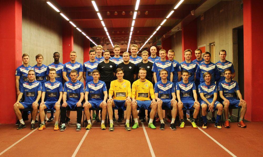First row: Tauno Tekko (vice-captain), Temari Nuuma, Mihail Gutak, Andre Paju, Karl Pechter, Karli Kütt, Jürgen Lorenz (Captain), Rasmus Tauts, Janno Saks, Geir Suurpere. Second row: Marek Tšernjavski, Ergo Eessaar, Dougouti Ballo (CIV), Kevin Rääbis, Martin Jõgi, Johannes Kollist, Mario Hansi (coach), Tristan Koskor, Indrek Koser (head coach), Kaarel Kiidron, Margus Parts (physio), Kevin Anderson, Valeri Šabanov, Markus Jõgi, Martin Aasmäe, Kristjan Moks, Kristjan Tiirik, Martin Naggel (picture courtesy ofTammeka JK Tartu - click to enlarge)