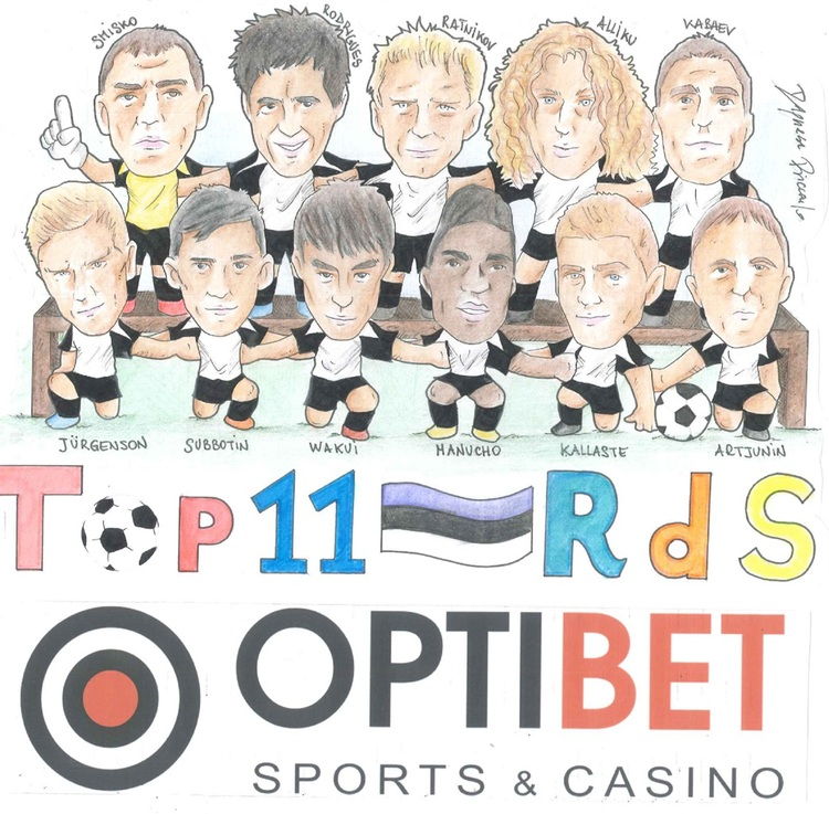 Roman Smisko, first from left on the top row, in the 2014 Optibet Best XI selected by Rumori and drawn by Riccardo D'Agnese