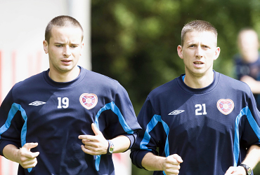 Marius Cinikas, right, when he was in Scotland (Hearts of Midlothian). He left Sillamäe one year ago just to return from Suduva Marjampole during the 2015 winter transfers window.