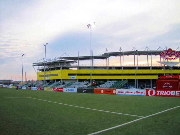 The bigger venue of the A.LeCoq Arena overlooks the small stands of the Sportland Arena