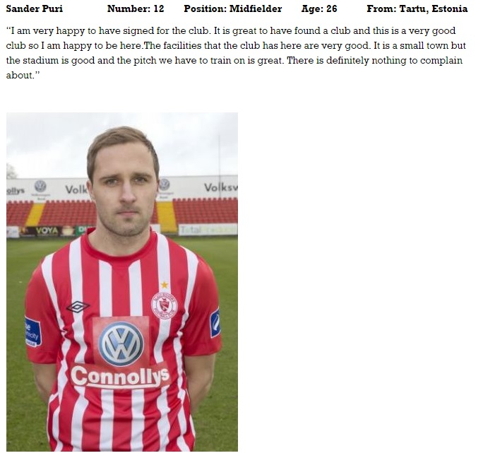Sander as presented in the official club website in the team's page - CLICK TO ENLARGE (sligorovers.com)